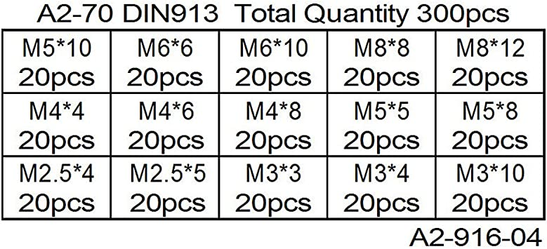 XIZONLIN 300 Pcs Cup Point Grub Screw Hex Head Allen Screw Set M2.5 M3 M4 M5 M6 M8 with Small Allen Key Wrench M1.3 M1.5 M2 M2.5 M3 M4 Stainless Steel Assortment Fasteners Kits