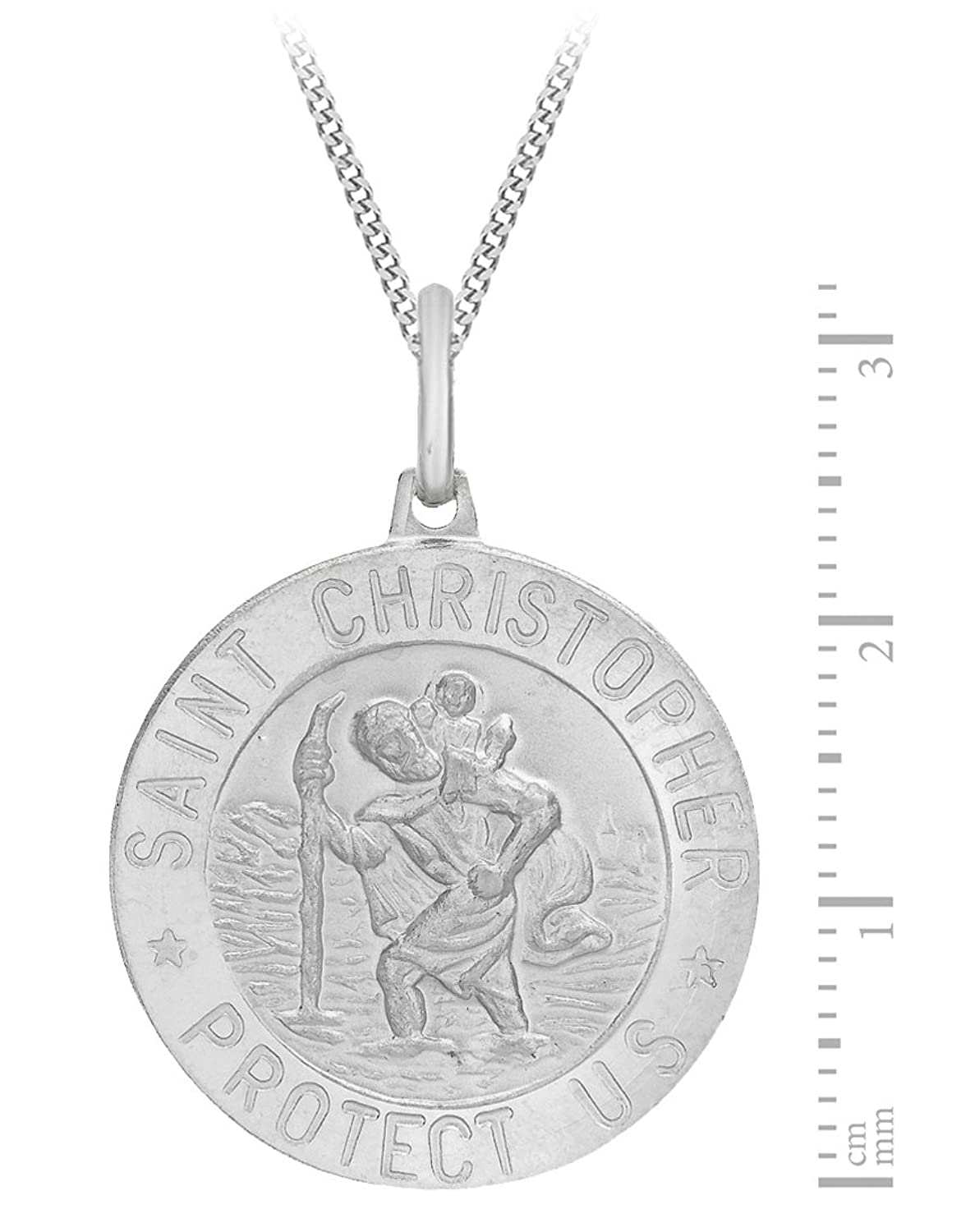 Tuscany Silver Sterling Silver Small St Christopher Pendant on Curb Chain of 51 cm/20 inch b5APWNOU