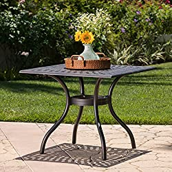 Augusta | Outdoor Cast Aluminum Dining Table | Square | Perfect for Patio | in Shiny Copper