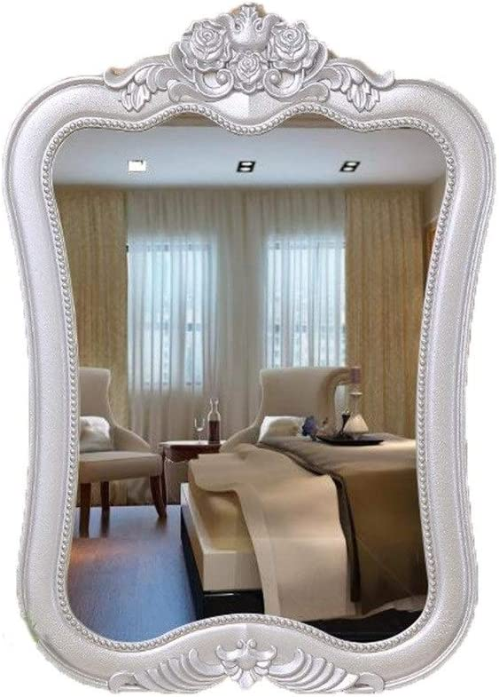 Amazon Com Wall Mirror Decorative Antique Gold Framed Decorative Vanity Mirror Wall Mounted Mirror Dressing Table Bathroom Wall Hanging Mirror Color Silver Home Kitchen