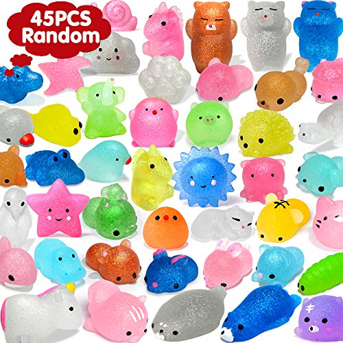 OCATO 45Pcs Mochi Squishys Toys Mini Squishies 2nd Generation Glitter Animal Squishies Party Favors for Kids Adults Stress Relief Toy Treasure Box Prize Classroom Valentine Prizes Easter Egg Fillers