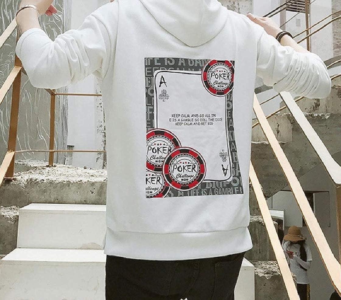 YUNY Mens Hooded Long Sleeve Floral Drawstring Baggy Casual Sweatshirt White 2XL