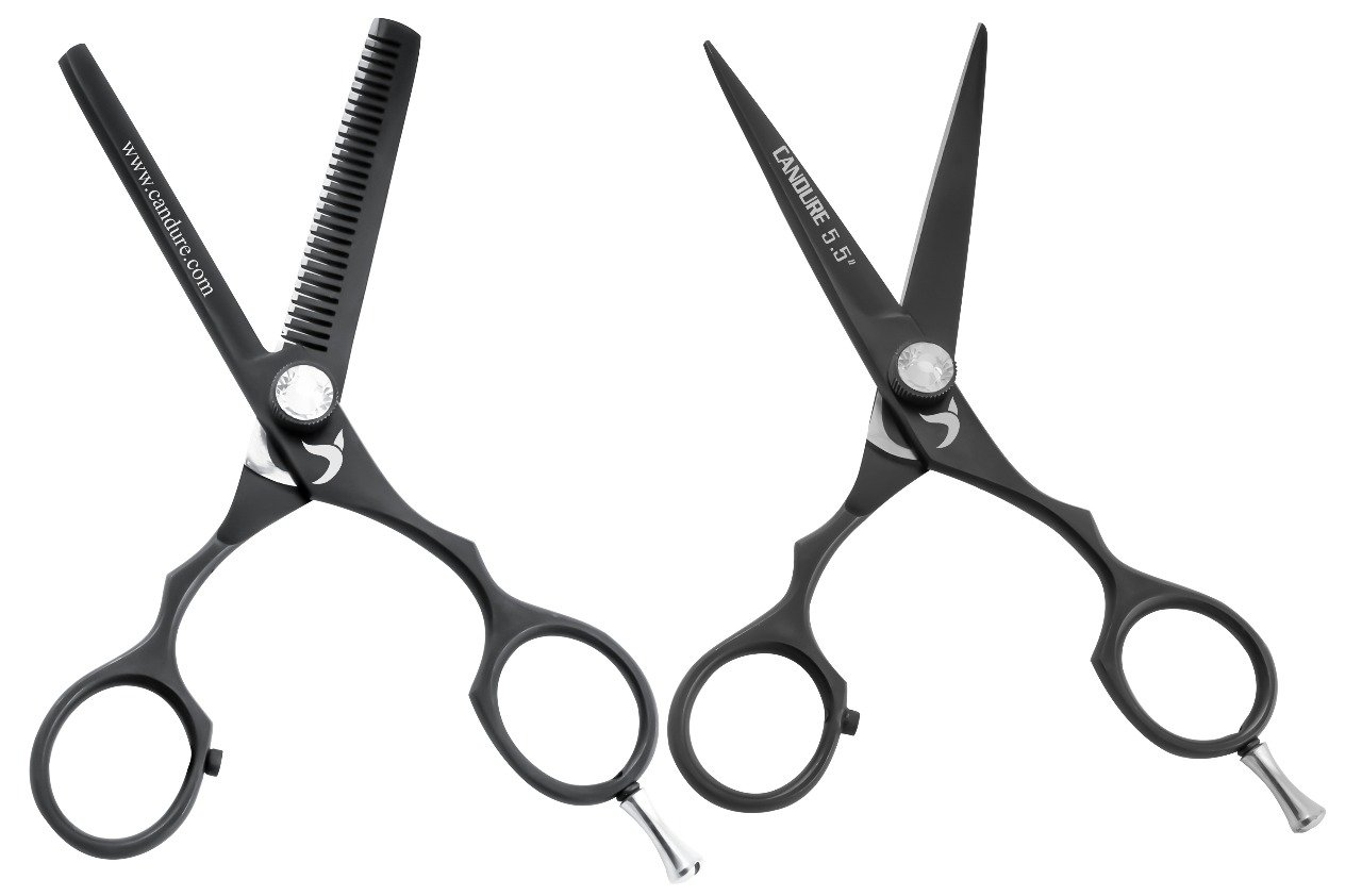 Hairdressing Scissors 5.5'' Barber Hair Cutting Thinning Salon Scissors Shears Black Colour with Fine Adjustment Screw By CANDURE by Candure (Image #7)