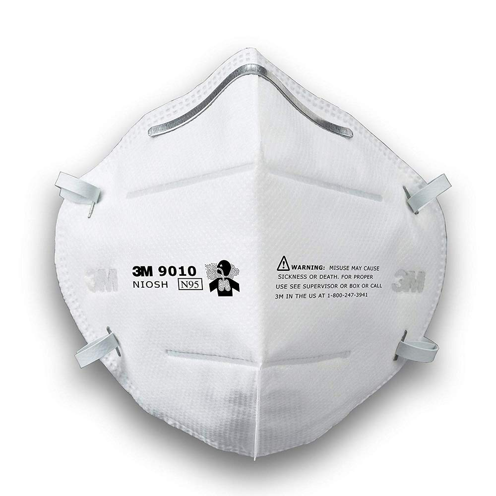 3M 9010 Disposable N95 Particulate Respirator Face Mask, Individually Wrapped 10 boxes (500 Masks)