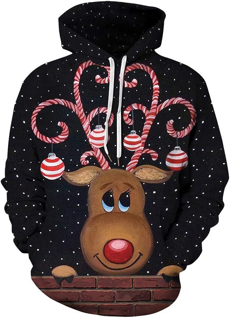 Merry Christmas Hoodie Unisex Weihnachtspullover Weihnachten Rentier 3D Digital Druck Kapuzenpulli Jumper Kapuzenpullover Sweatshirt Fantasie Pullover Mit Kapuze