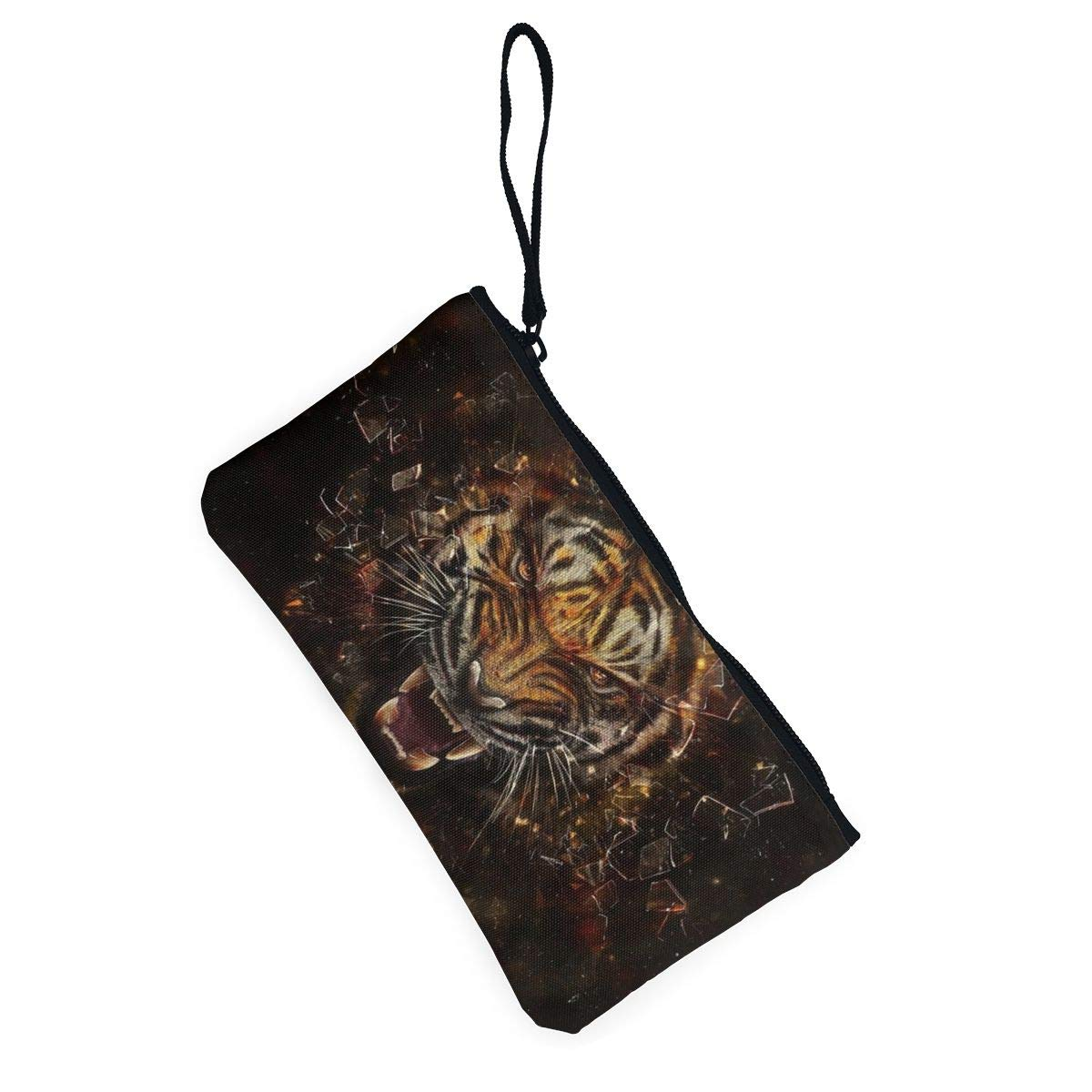 Make Up Bag,Cellphone Bag With Handle Tiger/_glass/_shards/_aggression/_teeth Zipper Canvas Coin Purse Wallet