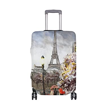 ALAZA Eiffel Tower Paris Oil Painting Luggage Cover Fits 18-22 Inch Suitcase Spandex Travel