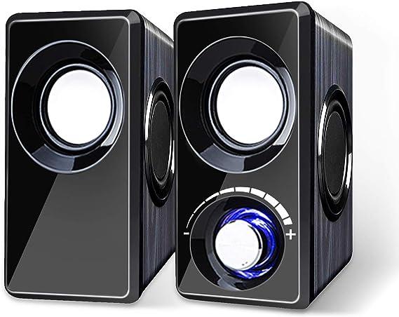 Computer Speakers with Subwoofer Built-in 6 Loudspeaker Diaphragm High Sound Quality USB Powered LED Small Multimedia Speakers for Laptop/Desktop/Tablets/Phone(Black Wood)