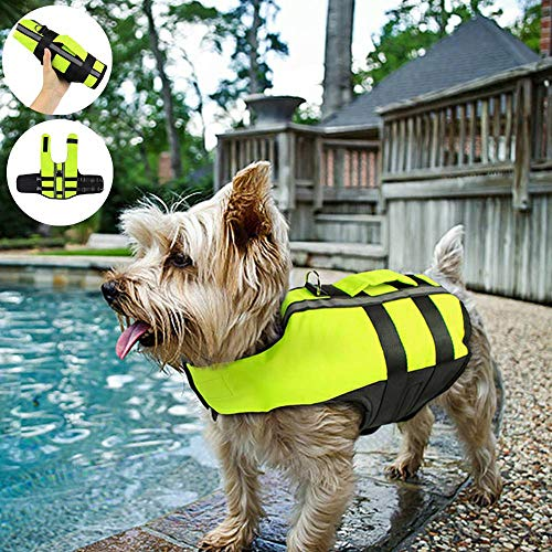 (Air Cushion Dog Life Jacket Swimsuit – Pet Swimming Life Vest with Reflective Strips Medium Large – Collapsible Inflatable Safety Swimwear - Puppy Ripstop Dog Floatation Preserver Coat – Adjustable)