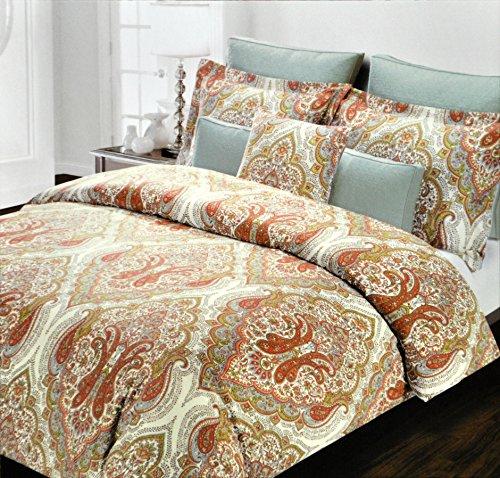 Tahari Sheets Sale: Tahari Home Red Orange Sage Full Queen Duvet Cover 3pc Set