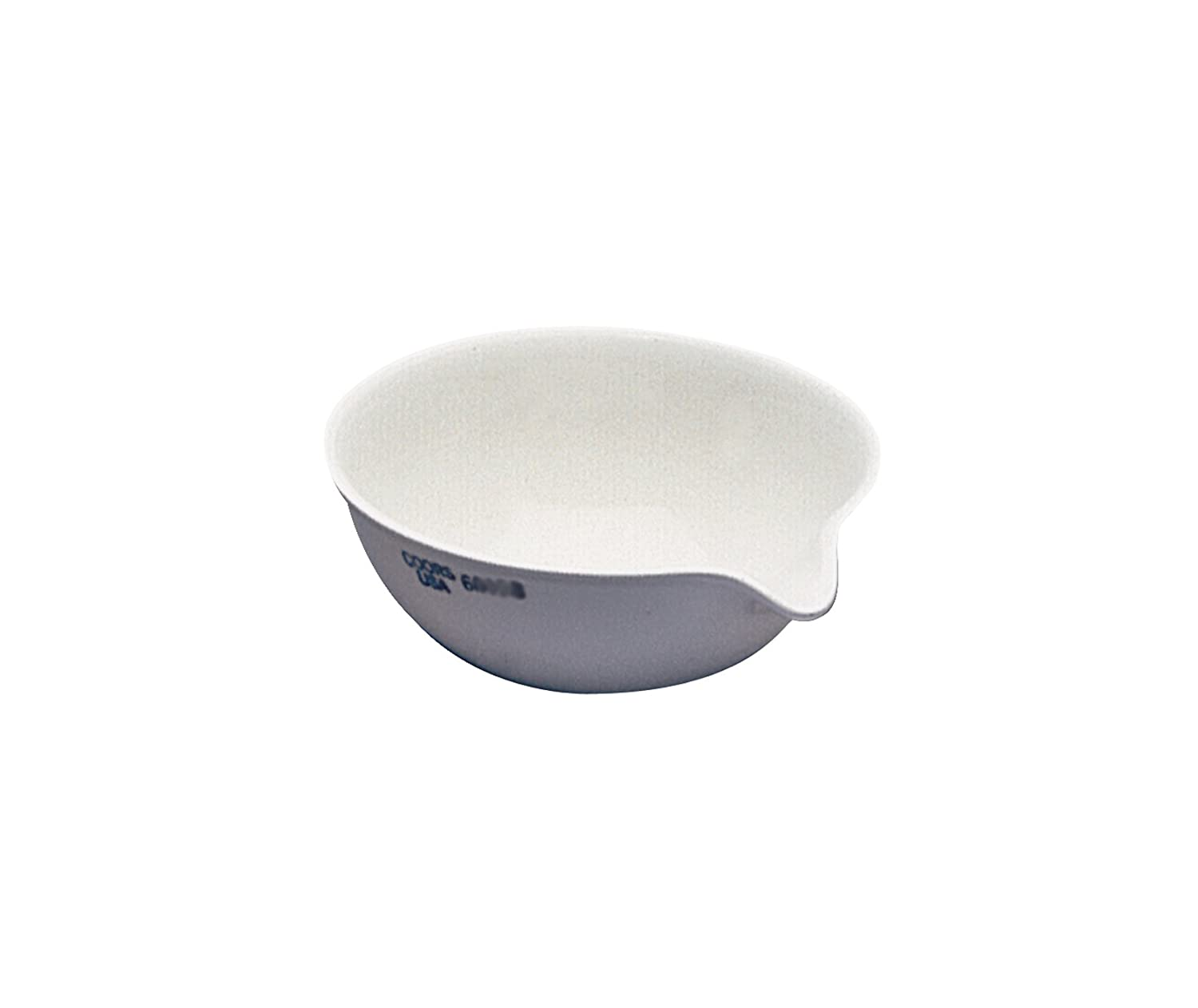 CoorsTek 60204 Porcelain Ceramic Evaporating Dish with Pouring Lip, 385mL Capacity, 145mm OD, 45mm Height