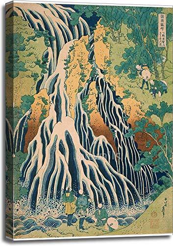 Pilgrims at Kirifuri Waterfall On Mount Kurokami in Shimotsuke Province by Katsushika Hokusai Gallery Wrapped Canvas Art (36in. x 24in.)