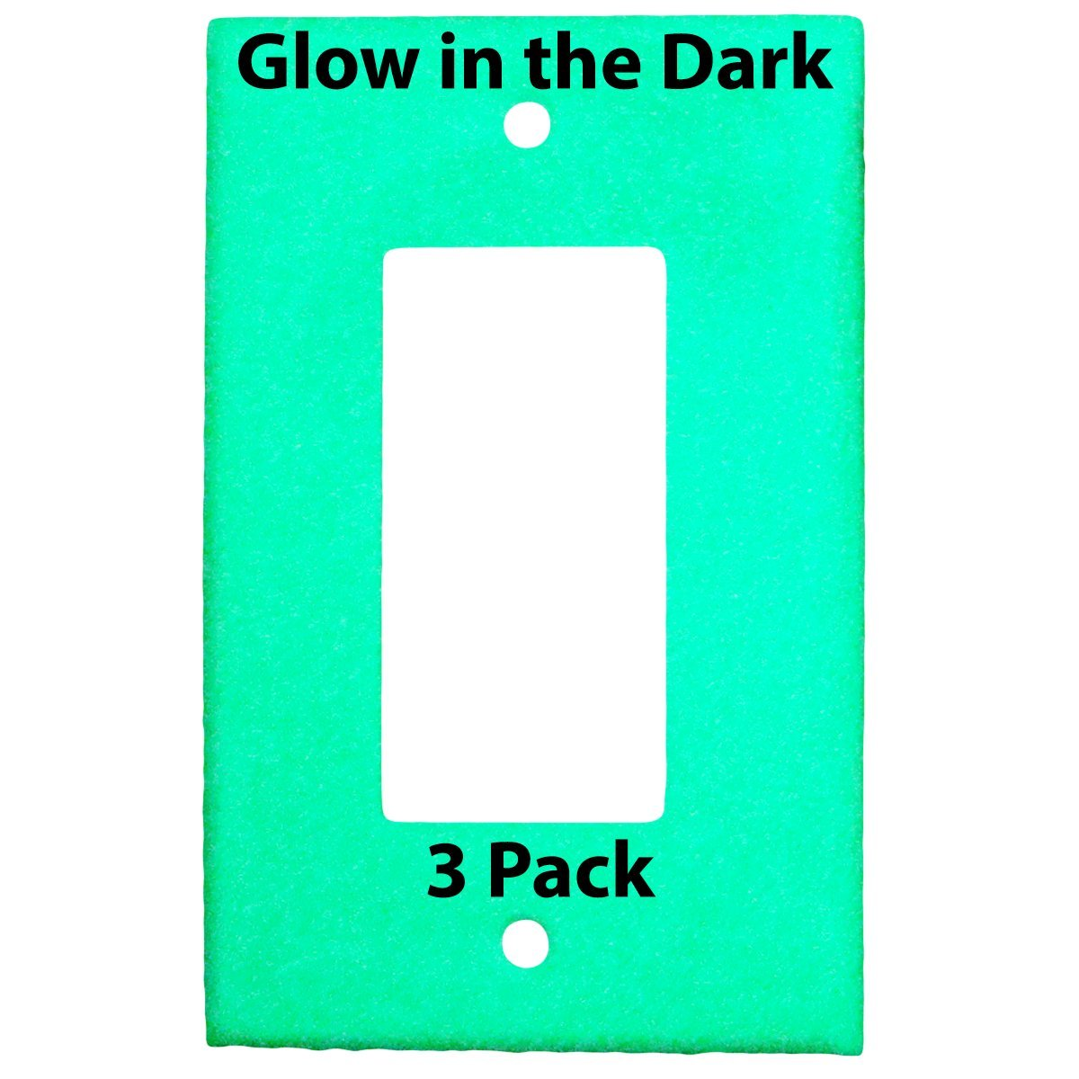 Glow in the Dark Safety 1-Gang Wall Cover Plate - White Plastic - Standard Size for Single Rocker Switch/Decora/GFCI Device (3 Pack)