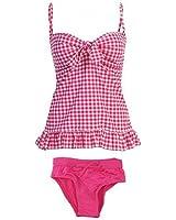 Marina West 2 Piece Bandeau Tankini Swimsuit Set (XL, Red/Pink/White Plaid)