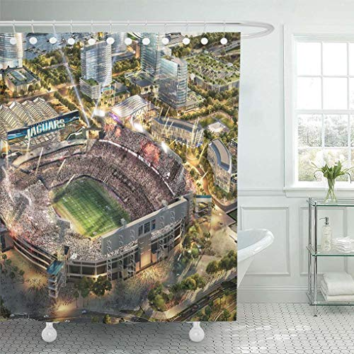 - Ladble Decor Shower Curtain Set with Hooks Tiaa Jaguars Stadium Bank Field Football Stadiums Jacksonville Florida USA 72 X 78 Inches Polyester Waterproof Bathroom