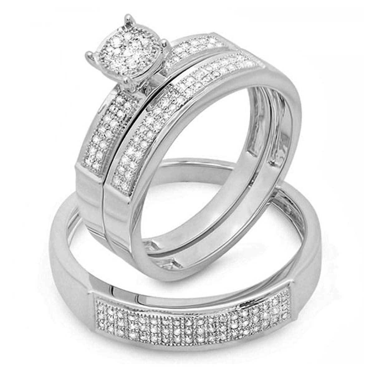 48d26a2717 Amazon.com: Dazzlingrock Collection 0.33 Carat (ctw) 10K Round White Diamond  Men & Women's Micro Pave Engagement Ring Trio Bridal Set 1/3 CT, White Gold:  ...