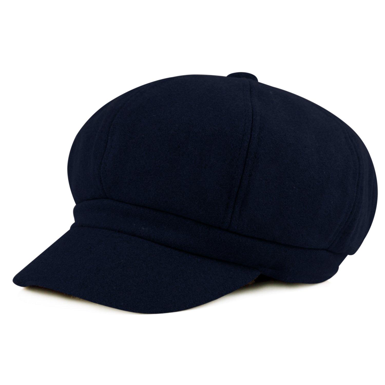 HowYouth Womens Vintage 8 Panel Wool Beret Newsboy Cap Cabbie Baker Boy Peaked Hat Unisex Adjustable 56-58CM 60154