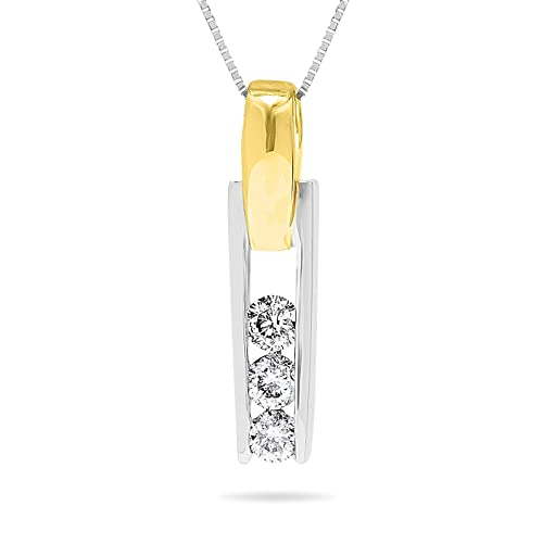 233c05bf5 Image Unavailable. Image not available for. Color: 1/5 Carat, 14k Two-Tone  White and Yellow Gold Three Stone Diamond