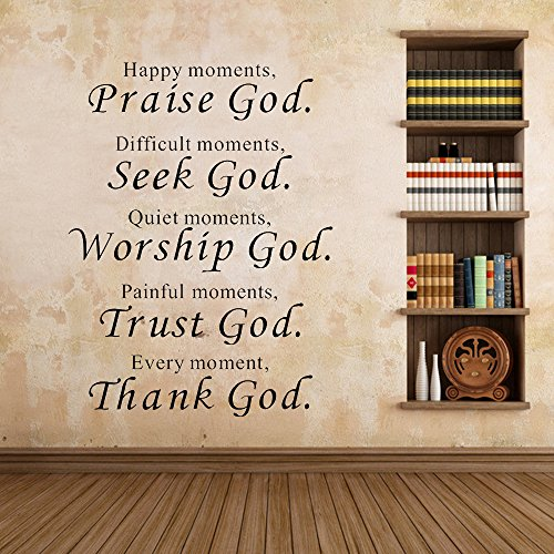 Ieasycan Wall Decals Quotes Vinyl Fashion Words Removable Mural DIY Art Stickers Praise Trust Thank God For Home - Map Outlets Lee