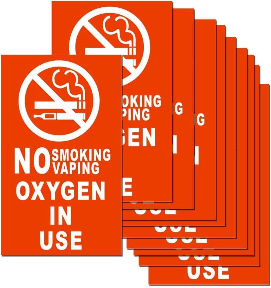 No Smoking No Vaping Oxygen in Use Sticker Sign 10 Set 5 X 3 Inch 5 Mil Vinyl Laminated for Ultimate Protection Durability Self Adhesive Decal UV Protected Weatherproof