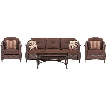 Hammond Drexel 4 Piece Wicker Patio Seating Set (1 Sofa, 2 Chairs, 1 - Amazon.com : Hammond Drexel 4 Piece Wicker Patio Seating Set (1 Sofa