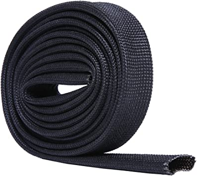 5FT X 26MM 1 Hiwow 5FT Heat Sleeve Fiberglass Adjustable Heat Shield Sleeve Black Color