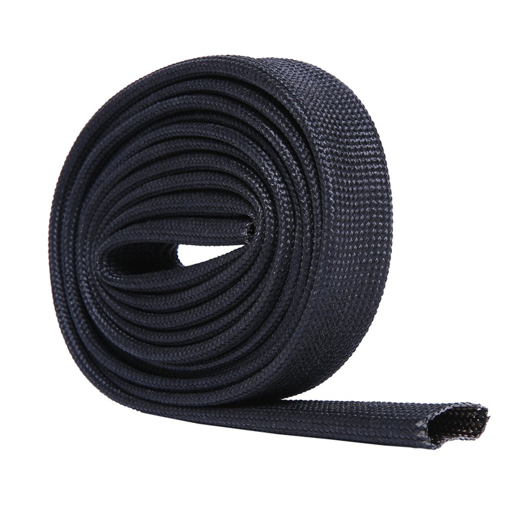 Hiwow 5FT Heat Sleeve Fiberglass Adjustable Heat Shield Sleeve Black Color (5FT X 26MM(1''))