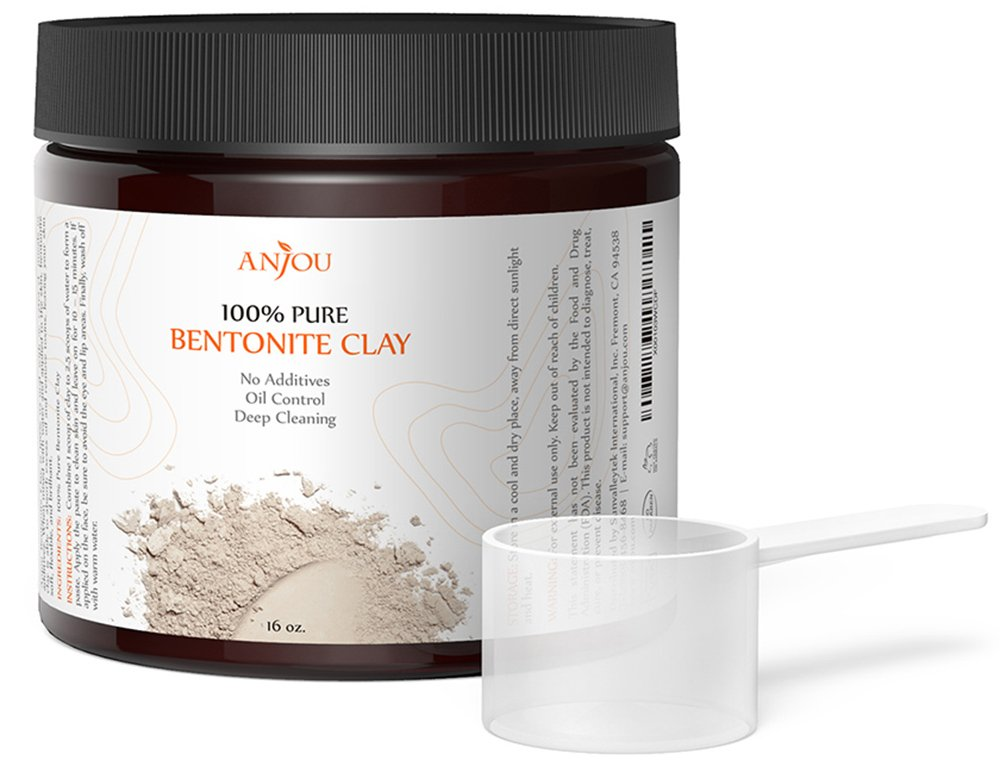 Clay Mask, Sodium Bentonite Clay Powder, Anjou Natural Organic Facial Mask for Oily Skin (Detox, Remove Excessive Oil, Exfoliate, Deep Pore Cleansing), 1 Pound