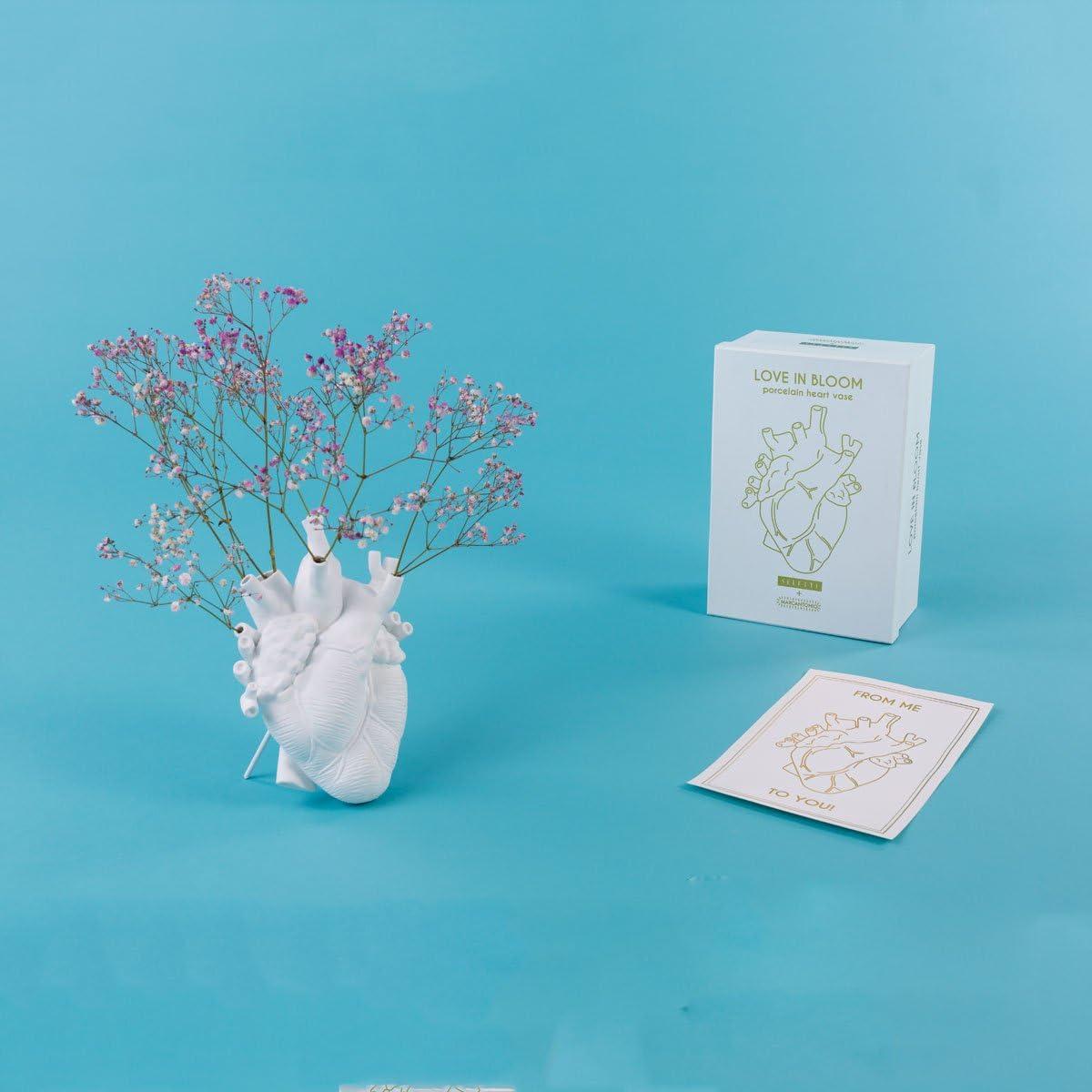 Seletti Love In Bloom Vase c/œur blanc
