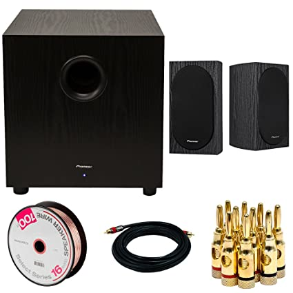 Pioneer SW-10 400W Powered Subwoofer (Black) + Pioneer Andrew Jones Designed 4""