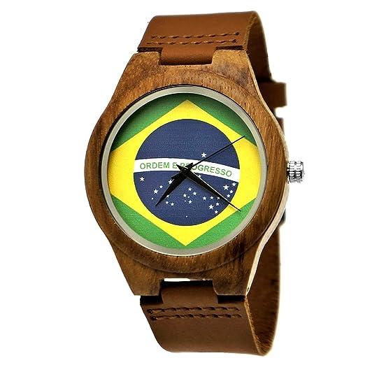 Hecha a mano de madera de Alemania® Designer Hombre Brasil Bandera Reloj mujer RELOJ Certificado ...