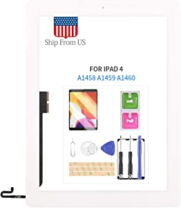 for iPad 4 4th Generation Screen Replacement for iPad 4 A1458 A1459 A1460 Touchscreen Digitizer Glass Panel with Home Button Repair Parts, Free Tempered Glass and Tools Kits