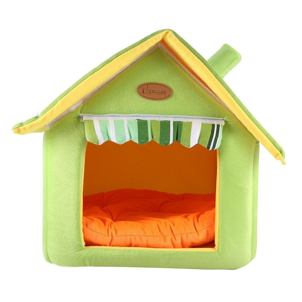 Green M Green M BISOZER-Pet Nest Cat God Bed, Cosy Shark Round House Bed Removable Soft Cushion Mat Four Seasons Puppy Cave for Small Dogs, Puppy, Cats, Rabbit, Pet House Gift (M, Green)