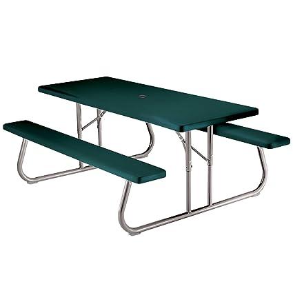 Lifetime 6 Folding Picnic Table.Lifetime 22123 Folding Picnic Table 6 Feet Hunter Green