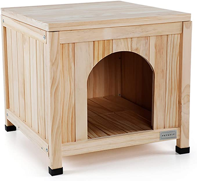 Petsfit Wooden Dog House Paintable Indoor Dog Houses For Small Dog Cat Litter Box Furniture 51cm X 51cm X 48cm Amazon Co Uk Pet Supplies