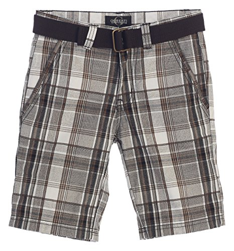 Plaid Boys Shorts (Gioberti Boys Plaid Shorts With Front Button & Zipper, Gray/Brown Line, Size 14)