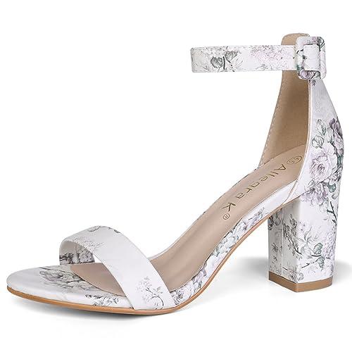 13b12967f Allegra K Women s Floral Ankle Strap Block Heel Light Grey Sandals - 5 ...