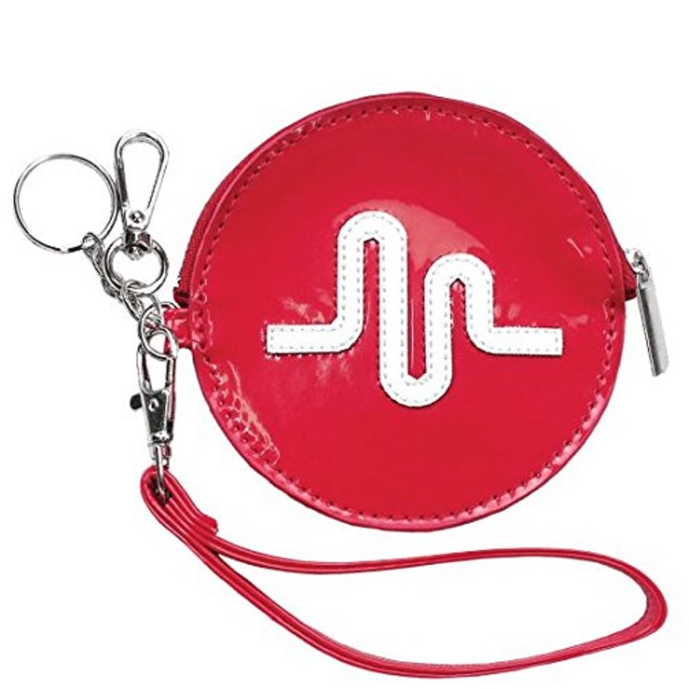 iscream Girls' Officially Licensed Musical.ly Logo Wristlet Clutch Coin and Key Purse in Faux Patent Leather