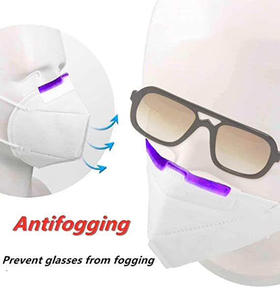 The Soft and Comfortable Silicone Material enhances 6pc Anti-fogging Nose Clip Accessories for Glasses to Prevent fogging of Glasses Suitable for All People who wear Glasses White,