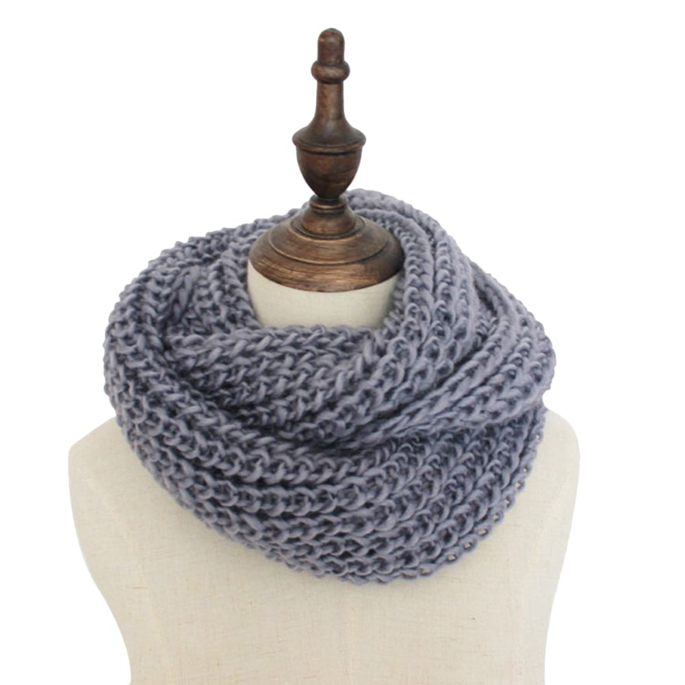 Vimans Women Winter Knit Scarf Thick Cable Infinity Scarf Circle Loop Scarf Cape048-Navy