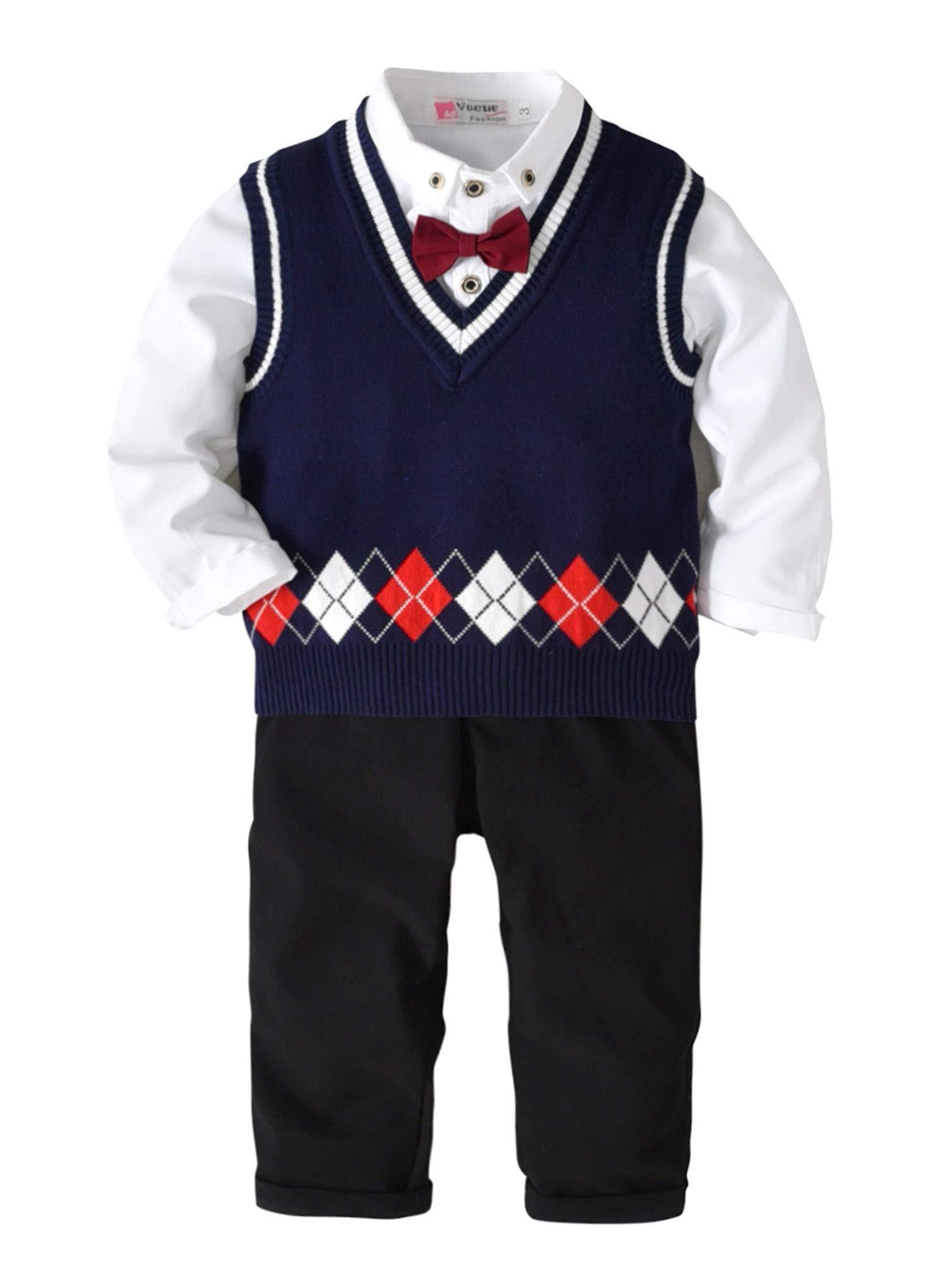 Pinleck Tollder Baby Boy Clothes Bowtie Gentleman Shirt Kint Sweater Vest Pants Outfits (Navy Blue, 140/Fit 6-7 T)