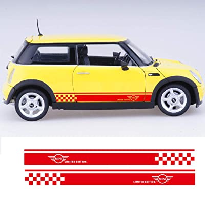 Charminghorse 2pcs Styling Car Side Racing Stripe Sill Skirt Vnyl Decal Stickers Limited Edition for Mini Cooper R50 R52 R53 R56 R57 R58 R59 2-Door (Gloss Red): Automotive