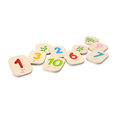 PlanToys Wooden Braille Number Tiles 1-10 (5654) | Sustainably Made from Rubberwood and Non-Toxic Paints and Dyes: Toys & Games