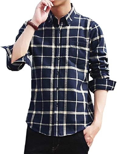 Miracle Mens Fashion Casual Banded Collar Short Sleeve Button Down Plaid Dress Shirt