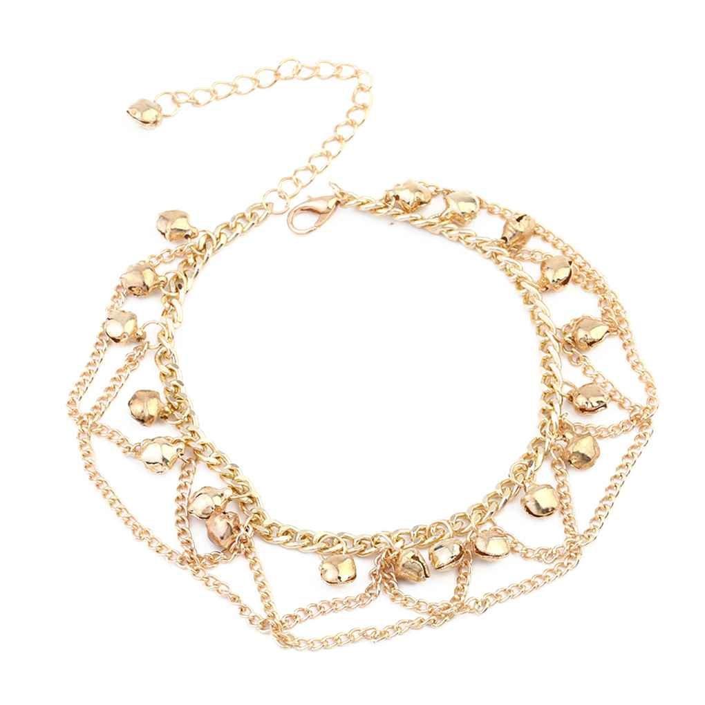 Deinbe Cadena de Oro Borla Pulsera Tobillera Cadena Elegante Mujeres Bell Collares Joyer/ía Muchacha de la Playa del pie Pulseras