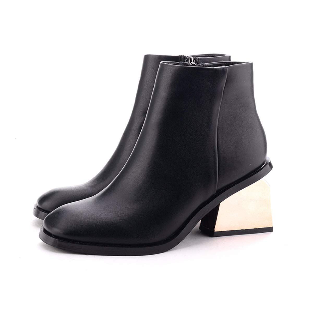HBDLH Damenschuhe Kurze Stiefel Mit Hohen 7Cm Square Kopf Schwarze Martin Stiefeln Dicken Absätzen Stiefel Und Ohne Stiefel.