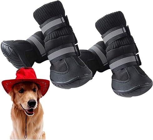 Rysmliuhan Shop Pfotenschutz Hund Pfotenschutz Für Hunde Wasserdicht Hundesocken Hundeschuhe Hundestiefel Für Verletzte Pfoten Wasserdicht Hundeschuhe Rutschfest Black S Küche Haushalt