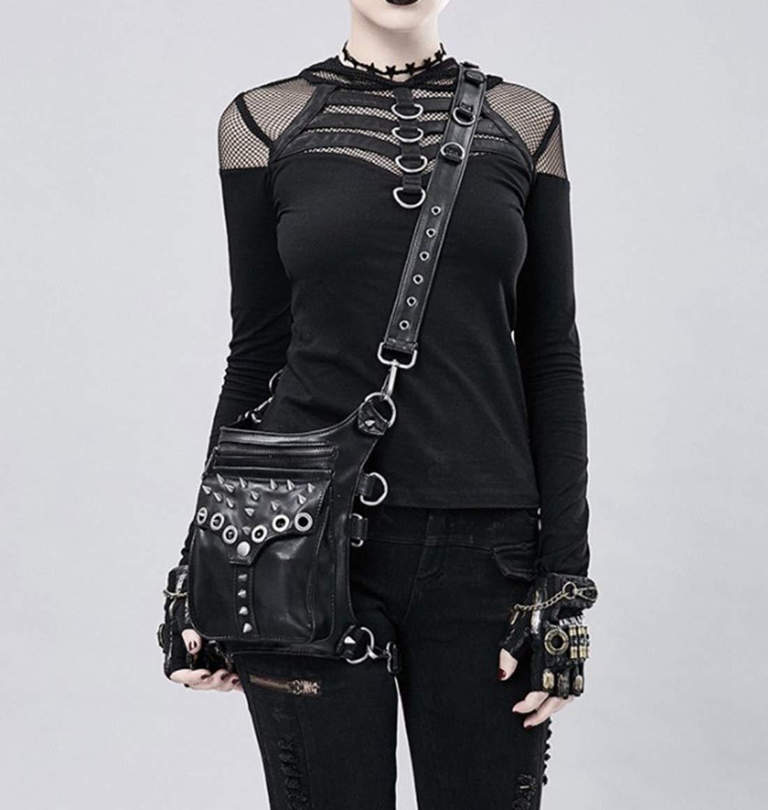 YJIU Väska Mode Damväska Cool Nit Rock Stil Gotisk PU Läder Steampunk Handväska Midja Ben Förpackning Vintage Punk Axelväska (Färg: svart) Svart