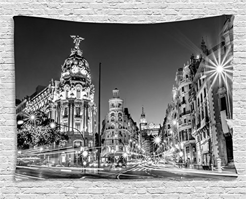 Ambesonne Black and White Decorations Tapestry, Madrid City Night Spain Main Street Ancient Architecture, Wall Hanging for Bedroom Living Room Dorm, 80 W X 60 L Inches, Grey by Ambesonne
