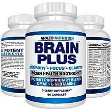 Premium Brain Function Supplement – Memory, Focus, Clarity – Nootropic Booster with DMAE, Bacopa Monnieri, L-Glutamine, Vitamins, Minerals - Arazo Nutrition